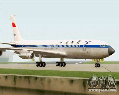 Boeing 707-300 CAAC para GTA San Andreas vista hacia atrás