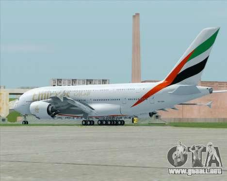 Airbus A380-800 Emirates (A6-EDH) para GTA San Andreas vista posterior izquierda