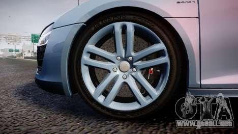 Audi R8 E-Tron 2014 dual tone para GTA 4 vista hacia atrás