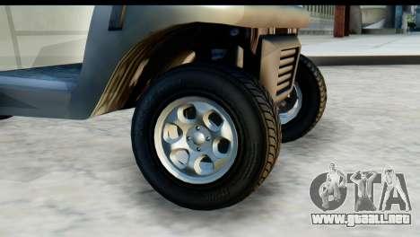 GTA 5 Caddy v2 para GTA San Andreas vista posterior izquierda