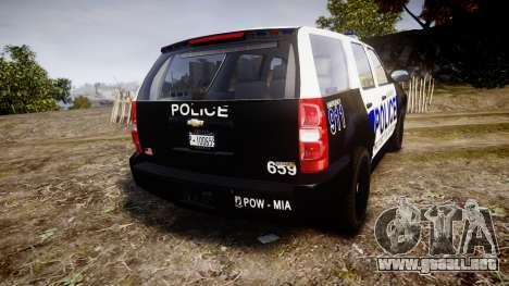 Chevrolet Tahoe 2010 Police Algonquin [ELS] para GTA 4 Vista posterior izquierda
