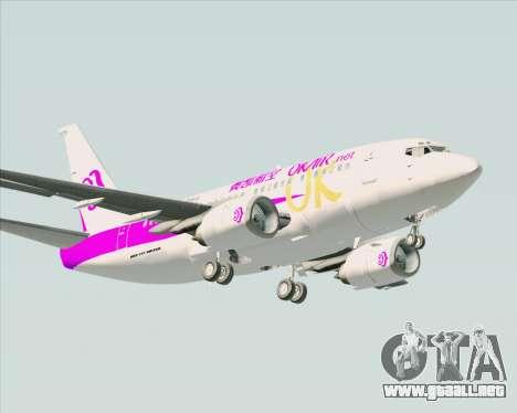 Boeing 737-500 Okay Airways para GTA San Andreas vista hacia atrás