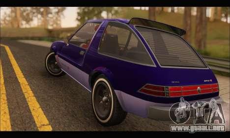 Declasse Rhapsody v2 (Fixed Extra) (GTA V) para la visión correcta GTA San Andreas