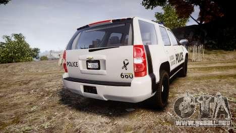 Chevrolet Tahoe 2010 Sheriff Dukes [ELS] para GTA 4 Vista posterior izquierda