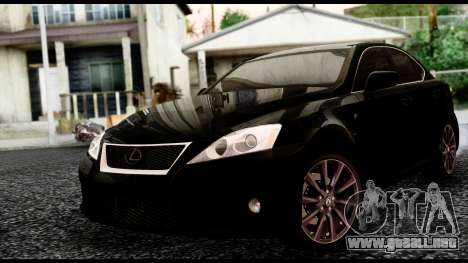 Lexus IS-F para GTA San Andreas vista posterior izquierda
