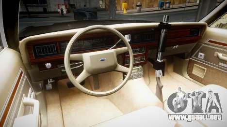 Ford LTD Crown Victoria 1987 LCPD [ELS] para GTA 4 vista hacia atrás