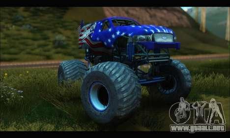 Monster The Liberator (GTA V) para GTA San Andreas vista hacia atrás
