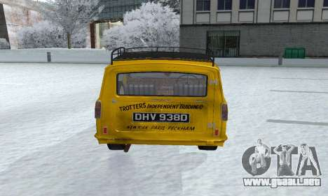 Reliant Supervan Only Fools and Horses para GTA San Andreas vista hacia atrás