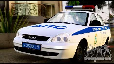 VAZ 2170 DE LA POLICÍA DE TRÁFICO para GTA San Andreas left