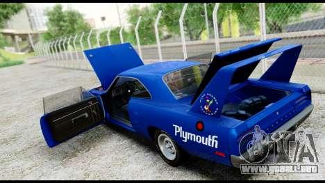 Plymouth Roadrunner Superbird RM23 1970 HQLM para visión interna GTA San Andreas