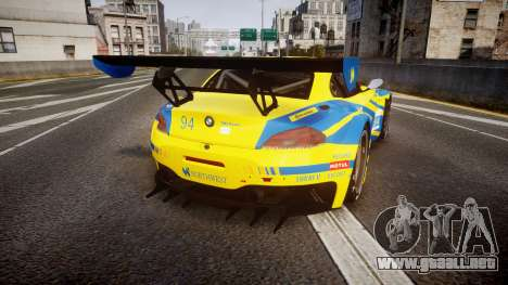 BMW Z4 GT3 2012 Northwest para GTA 4 Vista posterior izquierda