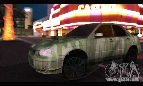 Subaru Impreza WRX Camo para GTA San Andreas left