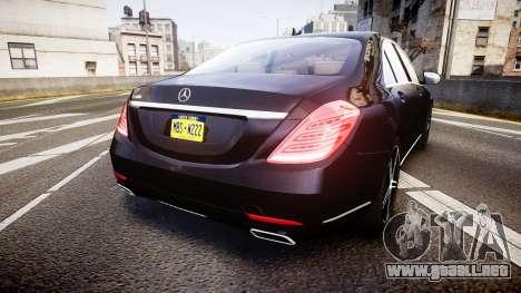 Mercedes-Benz S500 W222 para GTA 4 Vista posterior izquierda