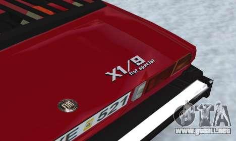 Fiat Bertone X1 9 para visión interna GTA San Andreas