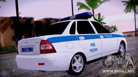 Lada Priora 2170 de policía de la MIA de Rusia para GTA San Andreas left