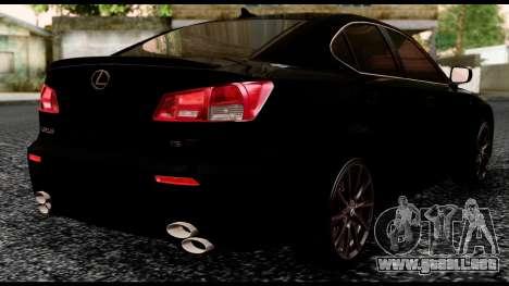 Lexus IS-F para GTA San Andreas left