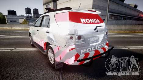 Toyota Hilux SW4 2014 Ronda PMCE [ELS] para GTA 4 Vista posterior izquierda