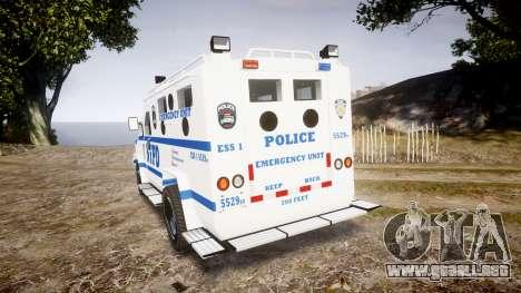 Lenco BearCat NYPD ESU [ELS] para GTA 4 Vista posterior izquierda