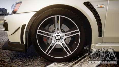 Mitsubishi Lancer Evolution X FQ400 para GTA 4 vista hacia atrás