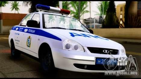 VAZ 2170 DE LA POLICÍA DE TRÁFICO para GTA San Andreas vista posterior izquierda