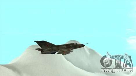 MiG 21 de la fuerza aérea Soviética para vista lateral GTA San Andreas