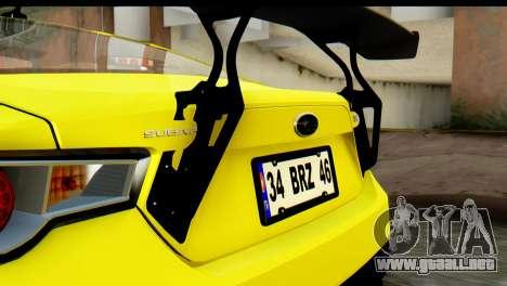 Subaru BRZ 2013 para visión interna GTA San Andreas