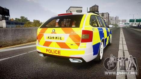 Skoda Octavia Combi vRS 2014 [ELS] Traffic Unit para GTA 4 Vista posterior izquierda