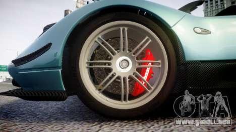 Pagani Zonda Cinque Roadster 2010 para GTA 4 vista hacia atrás