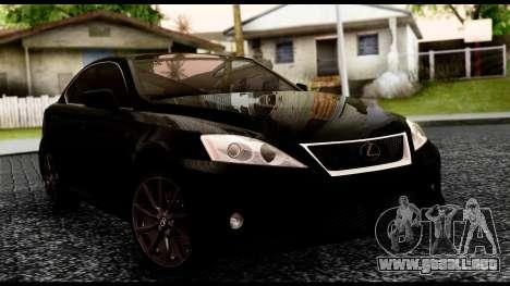 Lexus IS-F para GTA San Andreas vista hacia atrás