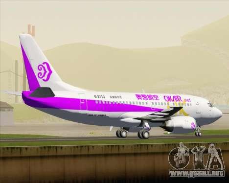 Boeing 737-500 Okay Airways para GTA San Andreas vista posterior izquierda