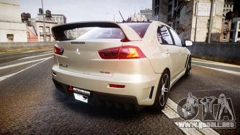 Mitsubishi Lancer Evolution X FQ400 para GTA 4 Vista posterior izquierda