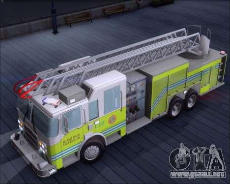 Pierce Arrow XT Miami Dade FD Ladder 22 para GTA San Andreas vista hacia atrás