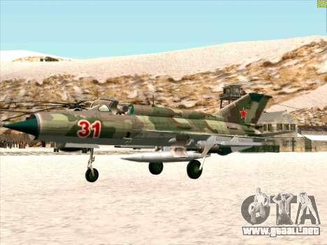 MiG 21 de la fuerza aérea Soviética para GTA San Andreas