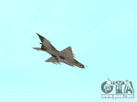 MiG 21 de la fuerza aérea Soviética para vista inferior GTA San Andreas