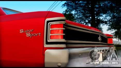 Chevrolet Chevelle SS 396 L78 Hardtop Coupe 1967 para GTA San Andreas vista posterior izquierda