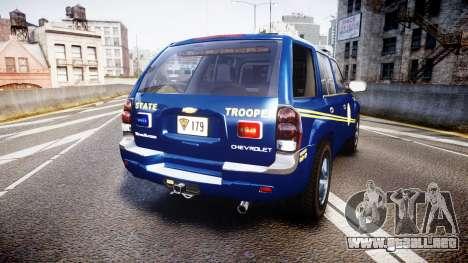 Chevrolet Trailblazer Virginia State Police ELS para GTA 4 Vista posterior izquierda