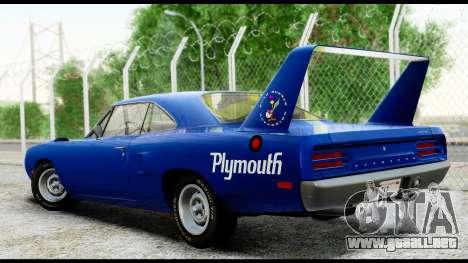 Plymouth Roadrunner Superbird RM23 1970 HQLM para GTA San Andreas vista posterior izquierda