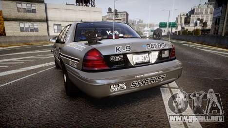 Ford Crown Victoria Sheriff K-9 Unit [ELS] pushe para GTA 4 Vista posterior izquierda