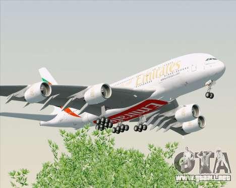 Airbus A380-800 Emirates (A6-EDH) para GTA San Andreas vista hacia atrás