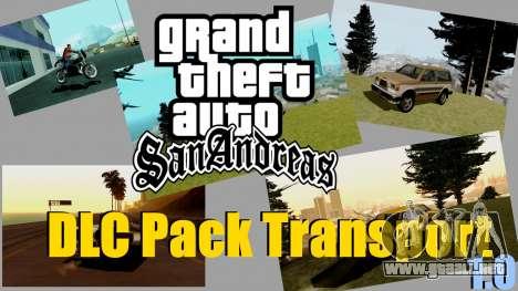 Nuevo transporte y compra para GTA San Andreas