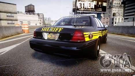Ford Crown Victoria Sheriff [ELS] black para GTA 4 Vista posterior izquierda