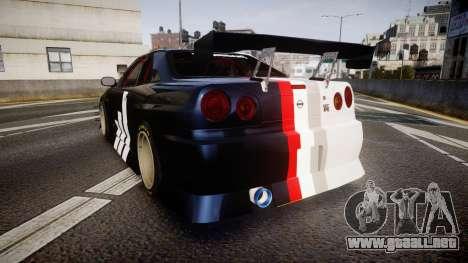 Nissan Skyline R34 GT-R Drift para GTA 4 Vista posterior izquierda
