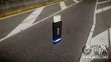 Unidad flash USB de Sony azul para GTA 4 segundos de pantalla