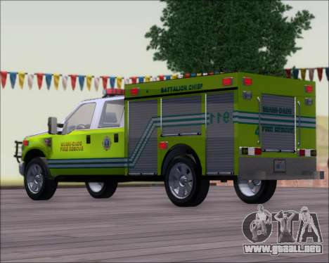 Ford F350 XLT Super Duty MDFD Batalion Chief 12 para GTA San Andreas left
