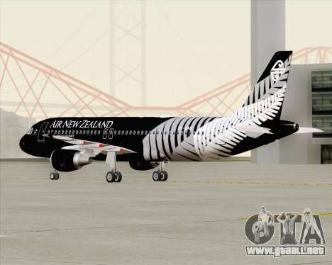 Airbus A320-200 Air New Zealand para vista lateral GTA San Andreas