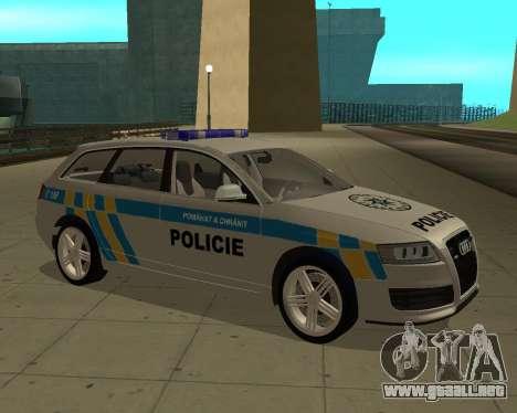 Audi RS6 Combi Police Czech Republic para GTA San Andreas vista posterior izquierda