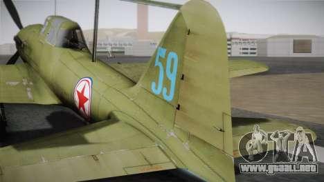 ИЛ-10 de la Fuerza Aérea de corea para GTA San Andreas vista posterior izquierda