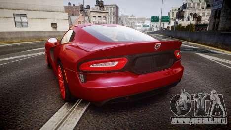 Dodge Viper SRT 2013 rims1 para GTA 4 Vista posterior izquierda
