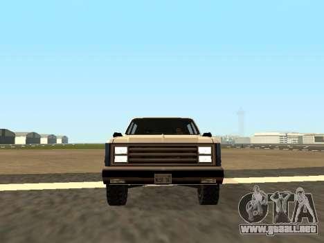 Rancher Four Door para GTA San Andreas vista hacia atrás