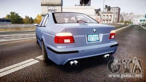 BMW M5 E39 stock para GTA 4 Vista posterior izquierda